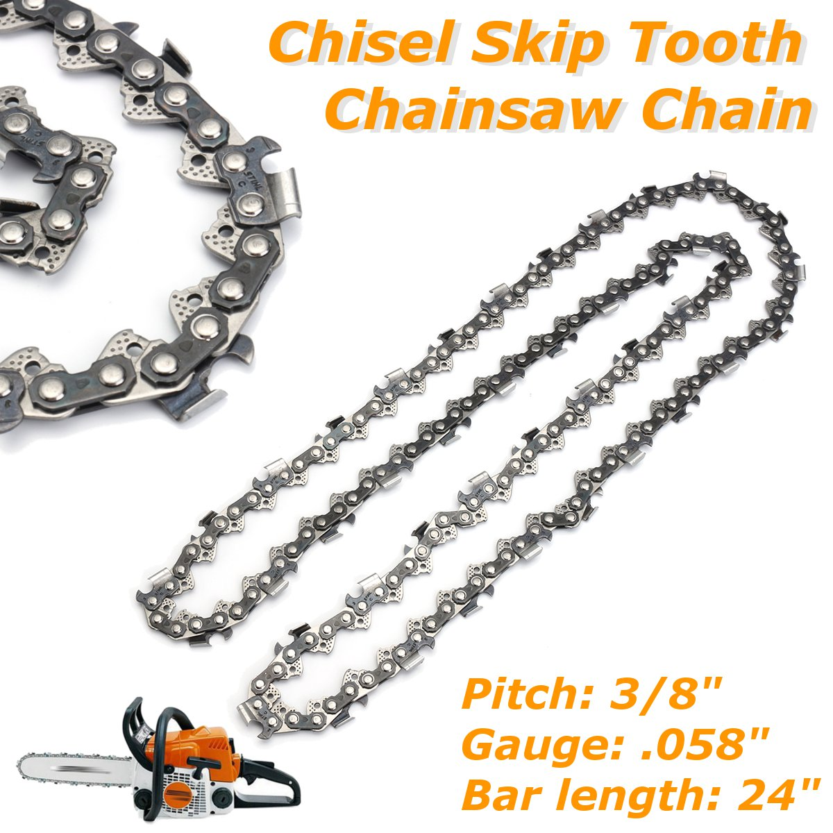 1pc 24 Inch Semi Chain Saw Chainsaw With File  For Husqvarna 24 Inch Bar 3/8 Inch 058 84DL Semi Chisel Skip Tooth