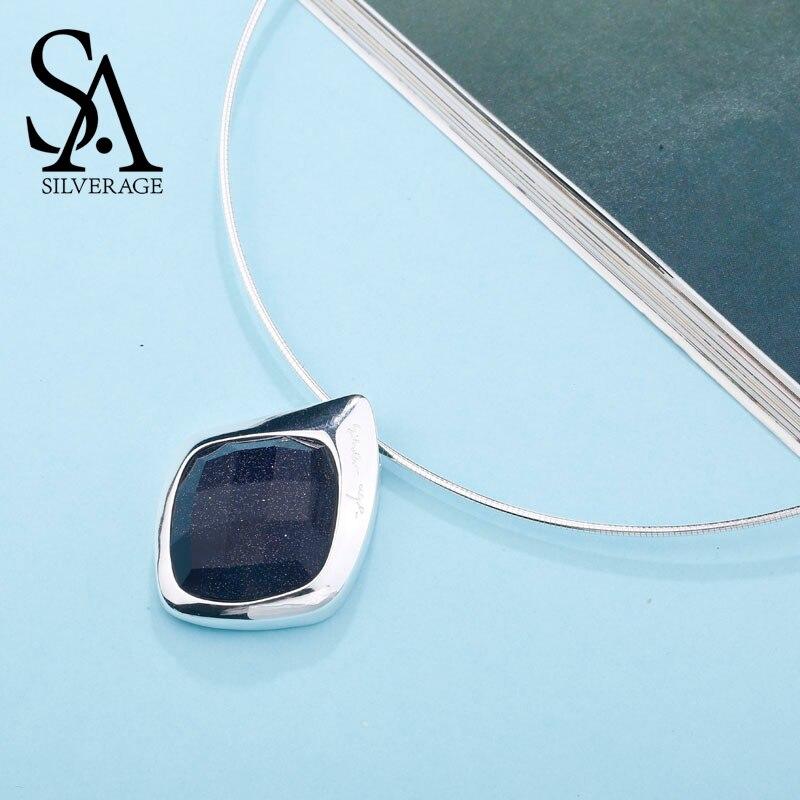 SA SILVERAGE 925 Sterling Argent collier ras du cou Noir Aventurine Tour de Cou Colliers bijoux fins Pour Femmes 12.58g/45mm * 30mm