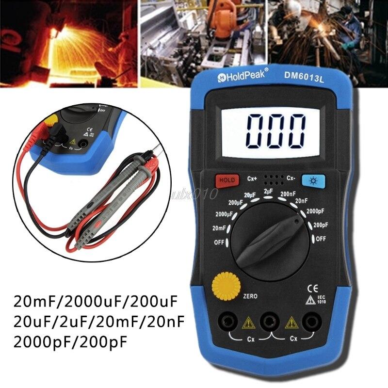 Handheld Digital Capacitance Meter Capacitor Tester Capacimeter Electronic Auto S09 Drop ship jfbl new m6013 auto range digital capacitor capacitance tester meter 0 01pf to 470mf