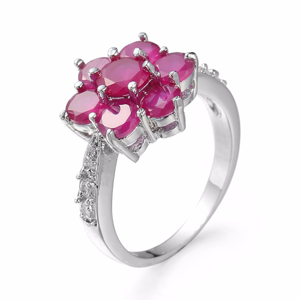 Freewill Fashion Female Antique Rings Garnet Flower Type Zircon White Goldcolor  Women Jewelry Rings
