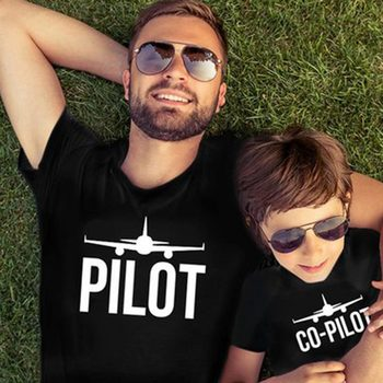 co pilot funny family matching t shirt for daddy and me father son cotton summer outfits letter american style children clothing