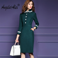 Angela Alex Women Long Sleeve Autumn Winter Wool Pencil Dress Vintage Peter Pan Collar OL Knee