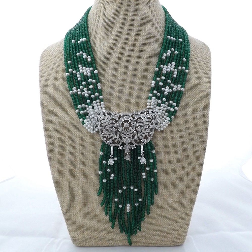 M012901 19 9 Strands Green Gems Pearl Necklace CZ Pendant 20 23 7 strands green stone necklace cz pendant