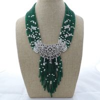 M012901 19 9 Strands Green Gems Pearl Necklace CZ Pendant