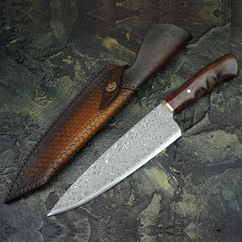 FZIZUO 7 5 Damascus Steel Chef s Knives Indian Rosewood Handle Gyotou Knife Cleaver Handmade Kitchen