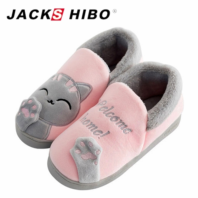 d8d9a61f3fd JACKSHIBO Cute Full Heel Cat Slippers for Women Warm Winter Home Shoes  Female Footwear Fur Lined Indoor House Slippers Chaussure