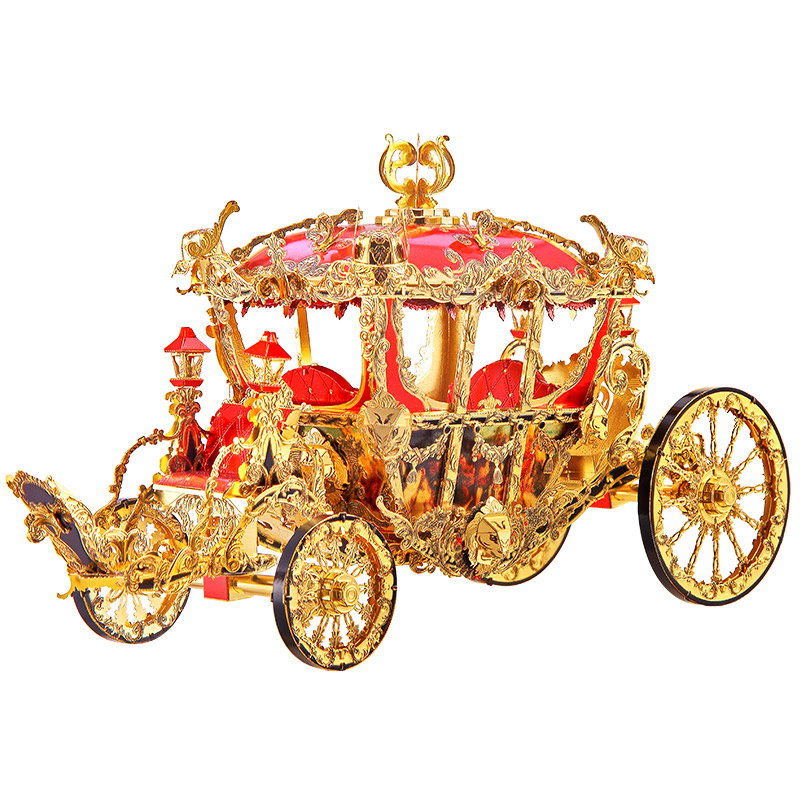 Piececool The Princess Carriage Model 3D Laser Cutting Jigsaw Puzzle DIY Metal Model Nano Puzzle Kids Educational Puzzles Toys