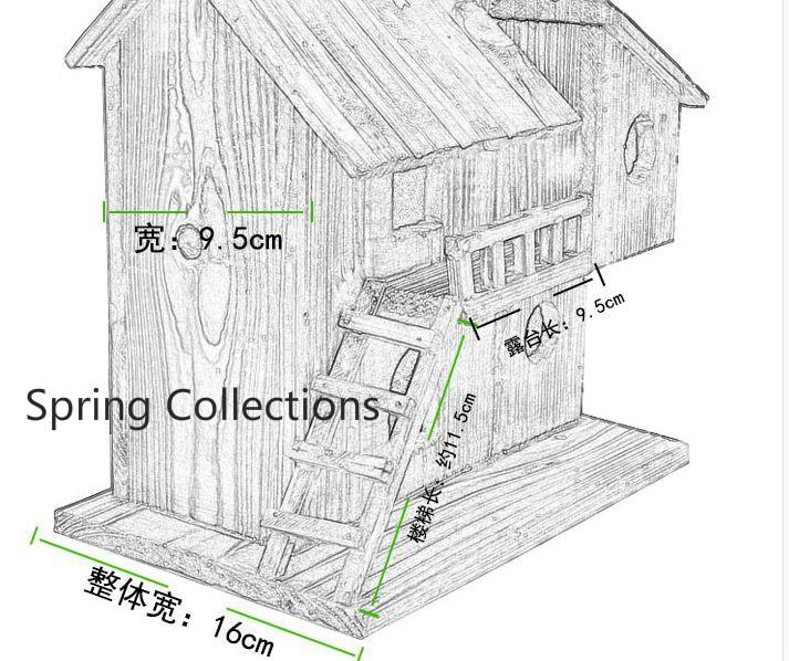25*25*16cm Wood outdoor birds nest wood preservative bird nest decoration  bird house wooden bird cage