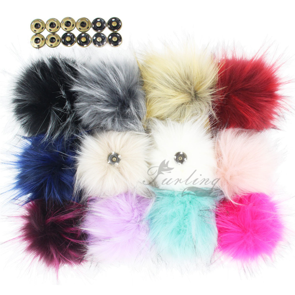 12PCS Faux Raccoon Fur 11CM Fluffy Pom Pom Ball with Press Button for Hat Beanie Accessories Women Keychain Hand Bag Charms straw clutch bag with pom pom