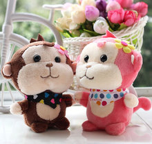 Super HOT NEW Stuffed Floral Monkey toy , 1X Random Color 10CM Plush Stuffed TOY , Sucker Pendant DOLL TOY Wedding Gift Bouquet(China)