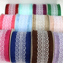 HAWARULU 1Pcs 10yard DIY Handmade Christmas Printed ribbon linen strips wedding craft roll gift festival activities garment lace
