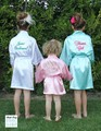 Florista Embroma la Mancha de La Boda Batas de Cartas Monograma Camisón Albornoz infantil Junior/Pequeña Dama de Honor Kimono