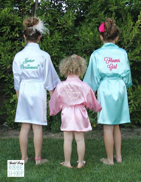 Flower Girl Kids Wedding Stain Robes Letters NightGown Monogrammed Childrens Bathrobe Junior /Little Bridesmaid Party Kimono