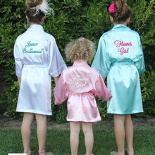 Flower Girl Kids Wedding Stain Robes Letters NightGown Monogrammed Children s Bathrobe Junior Little Bridesmaid Party