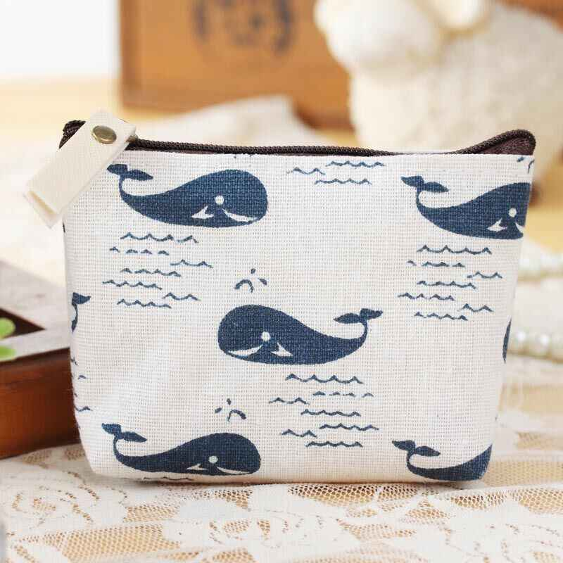Blue fabric cotton and linen small fresh purse retro pastoral wind female coin bag earphone bag clutch bag