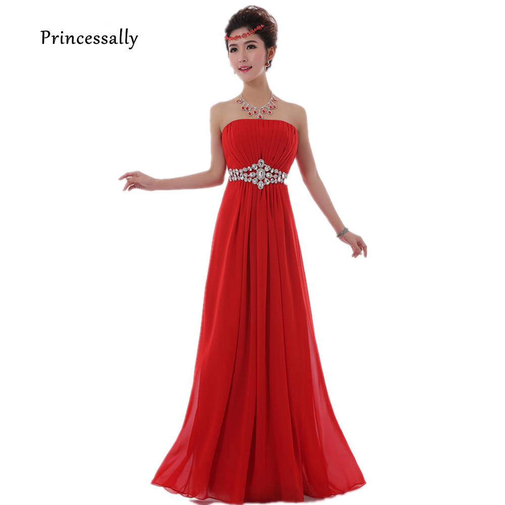 Red Bridesmaid Dress Long Chiffon Strapless With Luxury Beading ...
