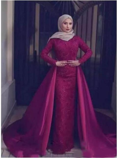 c8cdbc4034e5 Muslim Evening Pageant formal dress women elegant 2018 Saudi Arabic High  Neck robe de soiree Prom gown Mother Bride Dresses