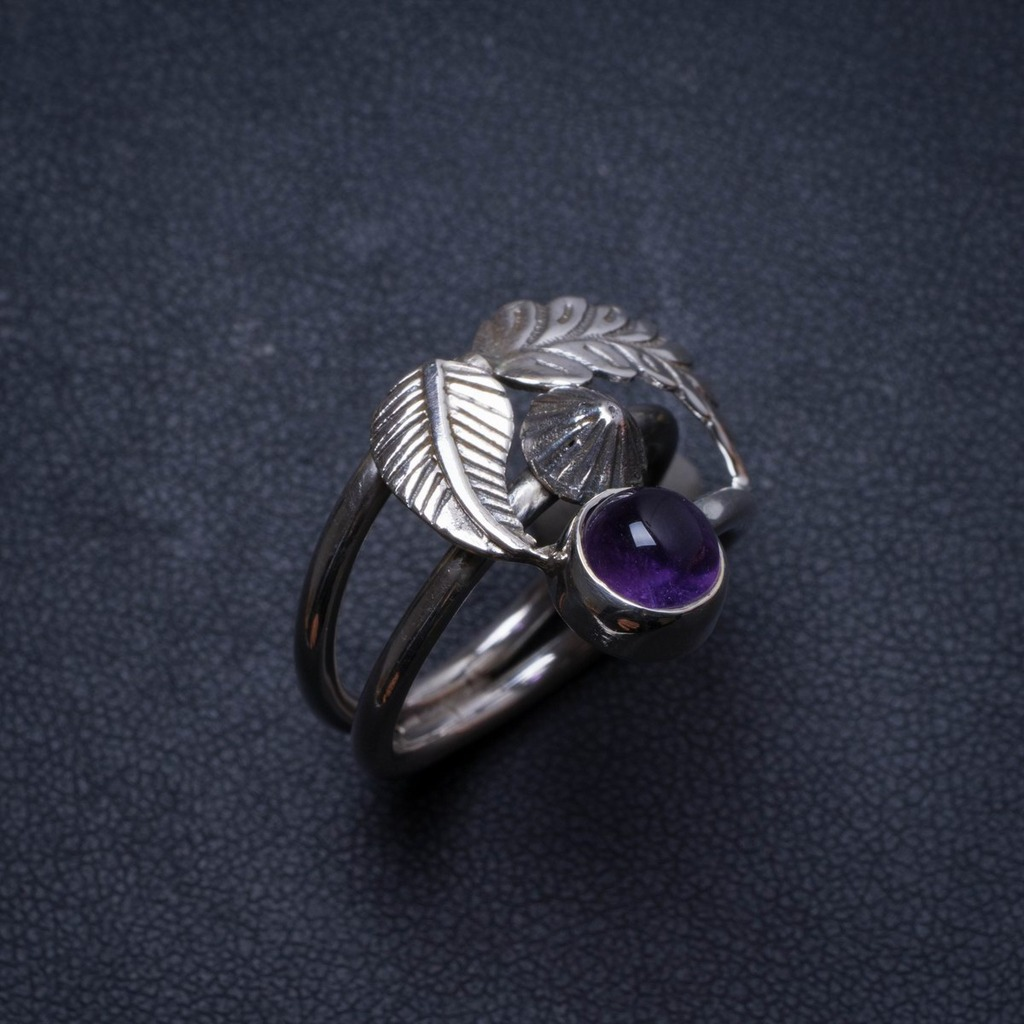 Natural Amethyst Handmade Unique 925 Sterling Silver Ring, US size 8 X2599Natural Amethyst Handmade Unique 925 Sterling Silver Ring, US size 8 X2599
