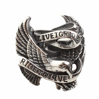 Gothic Titanium Stainless Steel Biker Man Rings Fashion Cool Motor Style Eagle Thick Chunky Ring For