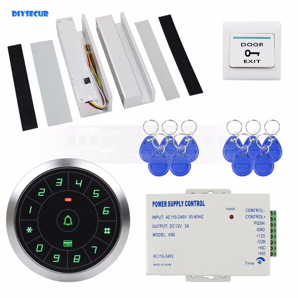 DIYSECUR Access Control System 8000 Users 125KHz RFID Reader Password Keypad + Electric Drop Bolt Lock Door Lock for Glass Door raykube glass door access control kit electric bolt lock touch metal rfid reader access control keypad frameless glass door