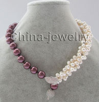Wholesale price183row 8mm white freshwater pearl &12mm wine red south sea shell pearl necklace