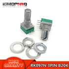 10pcs 3pin RK097N B20K 20K single linked potentiometer audio amplifier seal potentiometer handle length 15mm