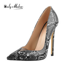 Onlymaker  Women's Pointed Toe Snake Slip On Black 12cm High Heel Stiletto Pumps Large Size Sexy Basic Shoes цена 2017