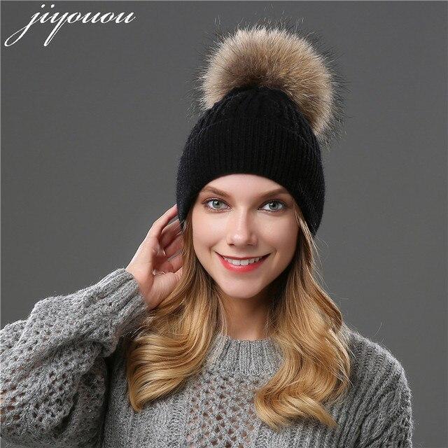 e963ca0d223ea 2018 chapéus de inverno para as mulheres pom pom bola pele de guaxinim  chapéu cor Sólida