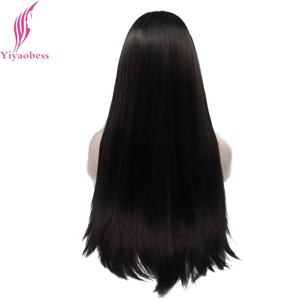 Yiyaobess 1# Heat Resistant Natural Straight Synthetic Lace Front Wig Long Black Wigs For African American Women