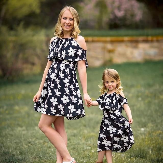 Nieuwe Collectie Kleding.2019 Nieuwe Collectie Zwart Wit Zomer Moeder Dochter Familie Kleding