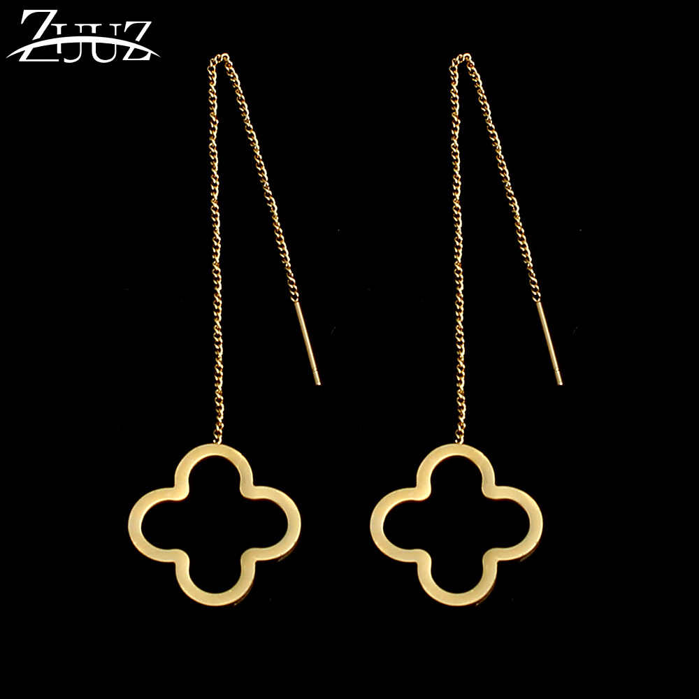 ZUUZ long korean dangle clover drop earrings hanging female brincos earing fashion earring stainless steel jewelry accessories