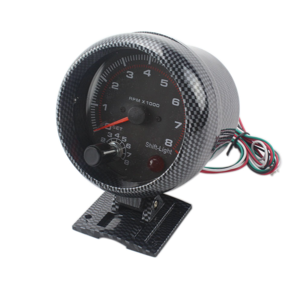 3.75 polegada 0 80 milímetros Car Racing-8000 RPM Tacômetro Com Shift Light Suporte De Montagem Do Carro Auto de Carbono metro TT100144