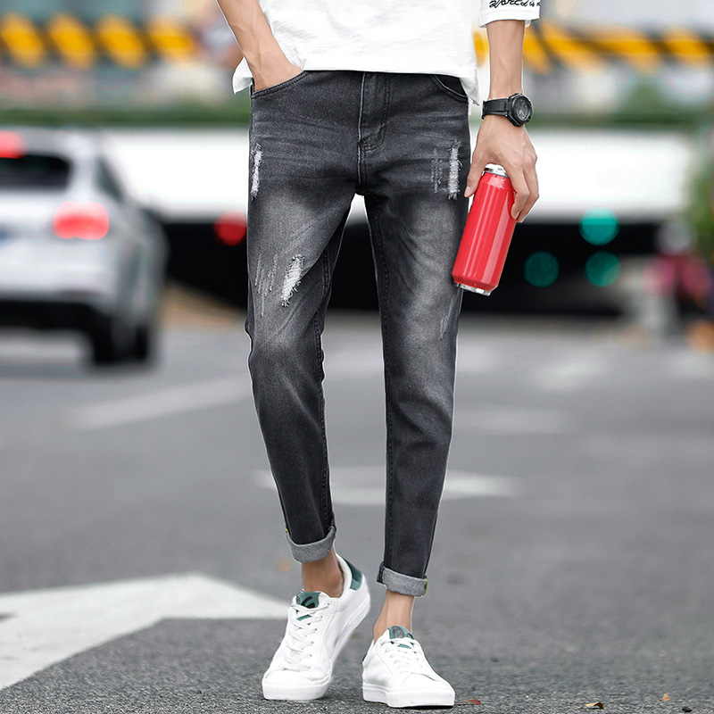 Black Skinny Jeans Mens Autumn Winter Straight Stretch Mens Casual Jeans Elastic Slim Jeans Mens Jeans