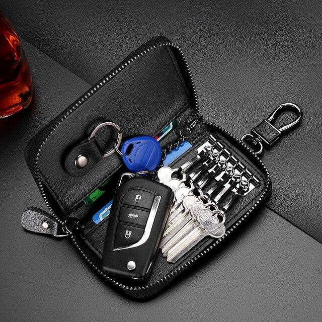 Genuine Leather KeyChain Unisex Key Bag Multifunction Organizer Wallet Holder Smart Housekeeper Car Small Key Case Keys Pouch 3