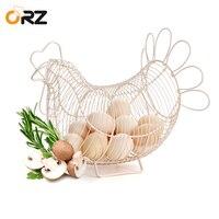 Chicken Design Egg Basket White Metal Wire Quail Egg Storage Container Vintage Farmhouse Kitchen Food Fruit Storage Basket