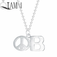 QIAMNI 925 Sterling Silver Peace Sign B Letter Round Chain Necklaces Pendant Minimalist Punk Jewelry Women