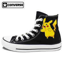 Pokemon Go Pikachu Converse Chuck Taylor Women Men Shoes Design Hand Painted High Top Canvas Sneakers Cosplay Christmas Gifts