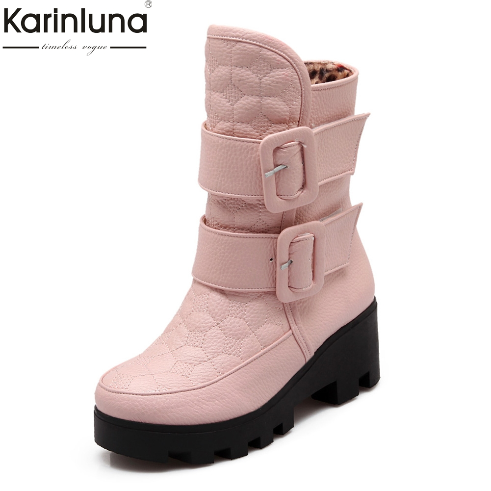 Karinluna 2018 Large Size 34-43 Add Warm Plush Woman Snow Boots Female Shoes Woman Boots Winter mid-calf Boots Woman Shoes стоимость
