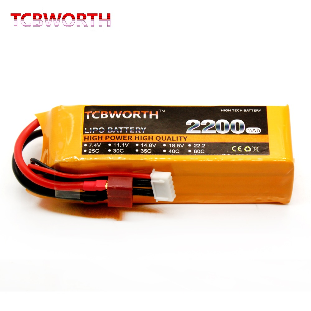 TCBWORTH RC Drone  Lipo Battery 4S 14.8V 2200mAh 25C For RC  Airplane Helicopter Quadcopter 4s LiPo Batteries Rechargeable Cell