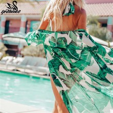 Leaves Print Bikini Beach Cover up Tunics for Beach Long Kaftan Bikini Cover up Robe de Plage Sarong Beach Swimsuit cover-ups