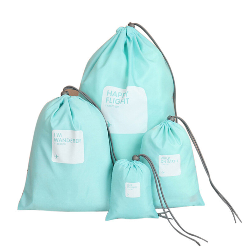 4pcs Waterproof Travel Drawstring Dry Storage Bag Shoe Laundry Lingerie Makeup Pouch For cosmetics Underwear Organizer