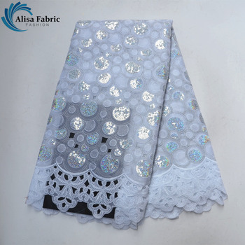 White African Lace Fabric 2020 High Quality French Tulle Lace With Sequins For Party Dress Tailor Material 5 Yards/pcs