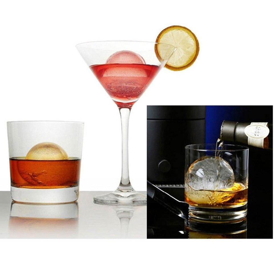 Muffa della Sfera di Ghiaccio del Whisky Stampo Rotondo per Hockey su Ghiaccio Stampo per Palline di Ghiaccio con Piccolo Imbuto per Whisky Cocktail Drink Gin 4,5 cm di Diametro