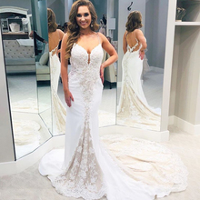Luxury V neck Wedding Dresses Spaghetti Straps Appliques Lace Bridal Dress Backless Long Chapel Train Robe De Mariee Custom Made