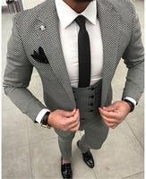 Casual Plaid Prom Men Suit 3Pieces Terno Groom Tuxedos Groomsmen Man Wedding Suit Slim Fit Blazer ( Jacket+Pants+Vest+Tie)