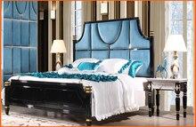 Купить с кэшбэком Luxury Moderm Bedroom Set Furniture with bed, mirror doors wardrobe,dresser, chest