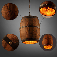 Wooden Barrel Pendant Lamp with E27 Edison Bulbs Industrial Wooden Lights Lustres Cafe Living Dining Room Pendant Lights Fixture