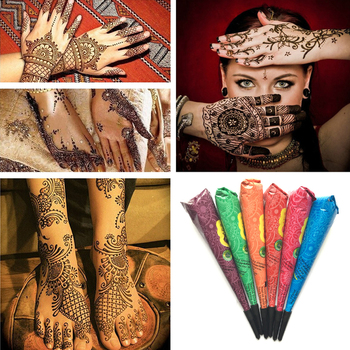 Hinduska henna tatuaż wklej wodoodporny tymczasowy tatuaż maści dla tymczasowy tatuaż ciało Art naklejka Mehndi farba do ciała TSLM1 tanie i dobre opinie 30 g Temporary Waterproof Tattoo 1 PC Henna Tattoo Paste for DIY Drawing or Tattoo support