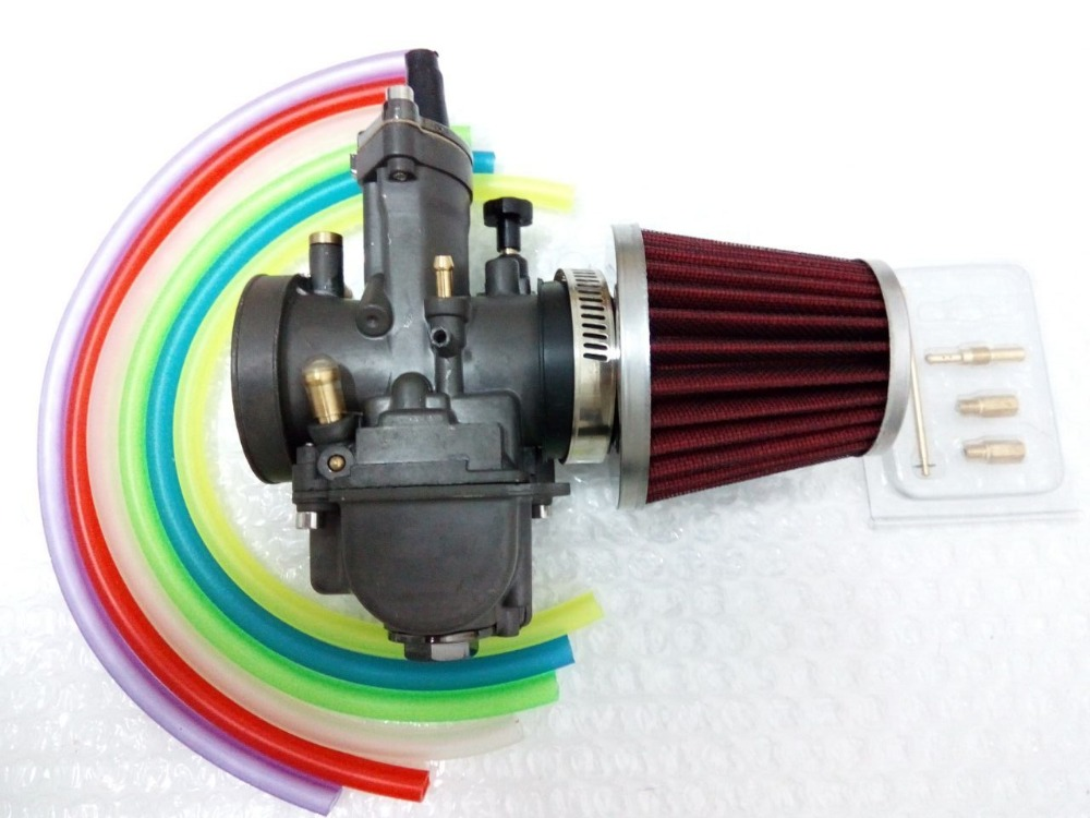 ФОТО new carburetor 34mm PWK  OKO KOSO carb Chrome with power jet fit race scooter Carburetor W/ Air Filter/black+ 6 color tubing