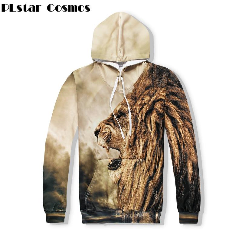 PLstar Cosmos Free shipping 2018 New Fashion Hoodies animal Lion Lion roar 3d Print For Men/Women casual Sweatshirt Hooded
